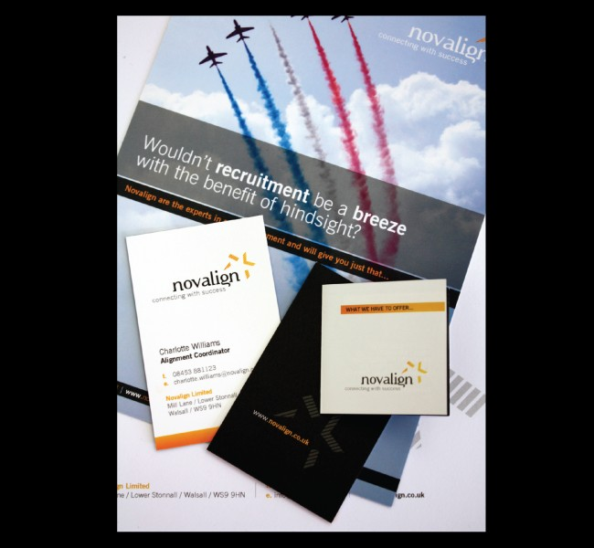 Business cards, brochures and leaflets printed and designed for recruitment agency