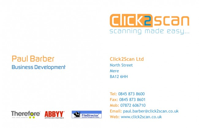Matt Laminated Business Cards printed by Solopress for Click2Scan