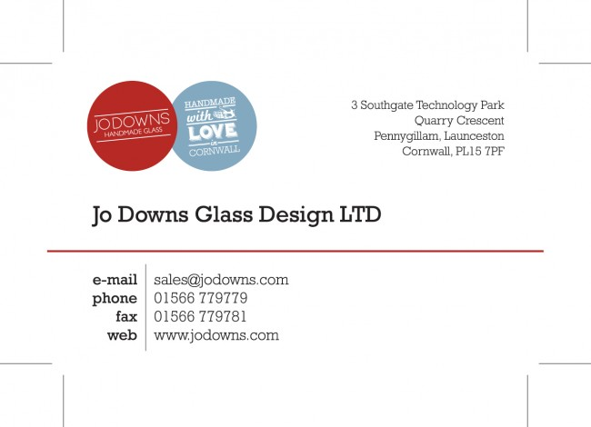 Sales Matt Laminated Business Cards printed by Solopress for Jo Downs Handmade Glass