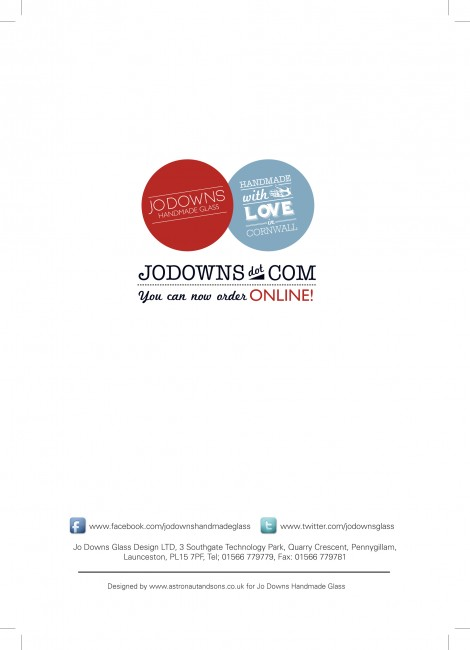 Facebook and Twitter A5 Gloss Brochures printed by Solopress for Jo Downs Handmade Glass