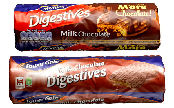 McVitie's vs Tower Gate digestives packaging