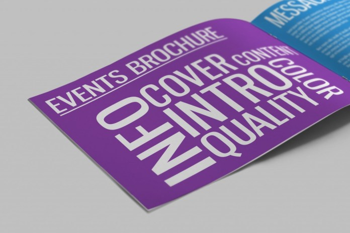 Event brochure with purple background and white, block text