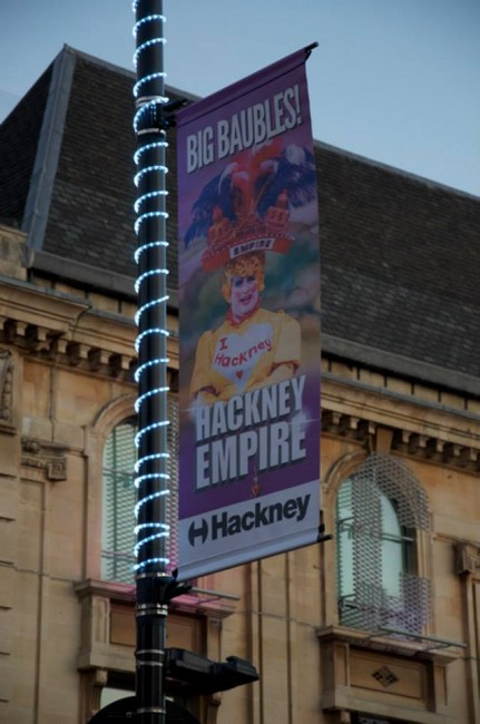 London lamp post panto banner