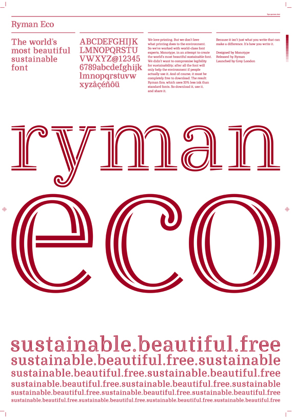 Environmentally-Friendly-World-Font-Typeface-Red-White-Stylish-Save-Ink