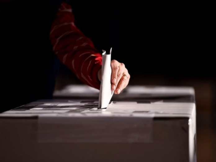 Person Voting In An Election