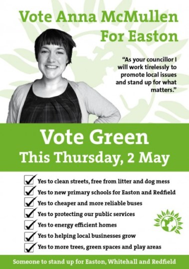 Vote Green election flyer front