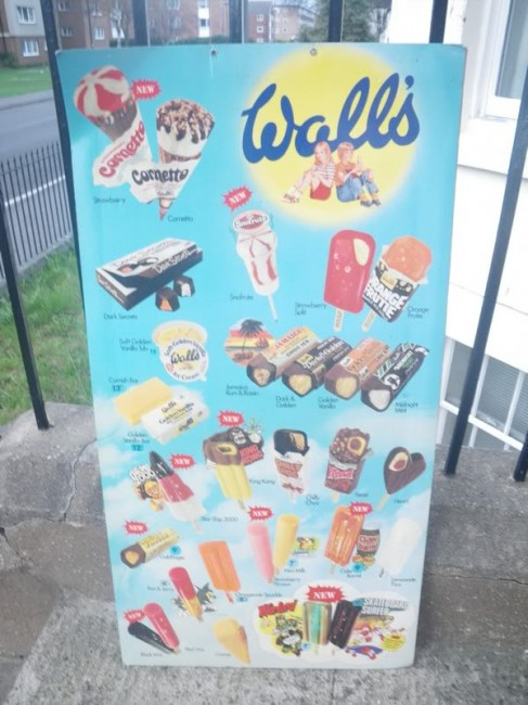 Wall's ice cream and lolly product range sign