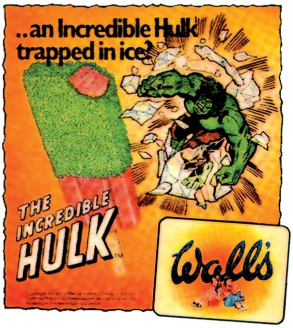 Wall's The Incredible Hulk ice lolly vintage poster