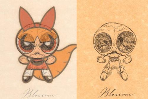 Powerpuff Girl, Blossom looking more terrifying in her skeleton form