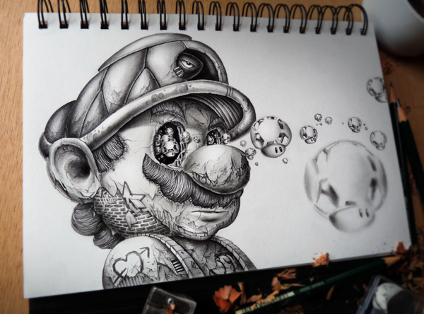 Sketch of a less-than happy-looking Mario from Super Mario Brothers with a tortoise shell as a hat, little Toad heads coming out of his eyes and skin made of brick