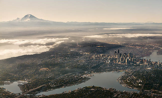 Mystical view of Seattle city taken from up high