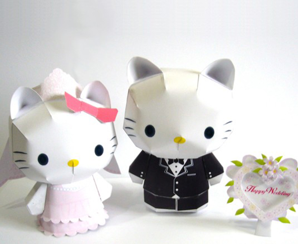 Adorable bride and groom paper Hello Kitty