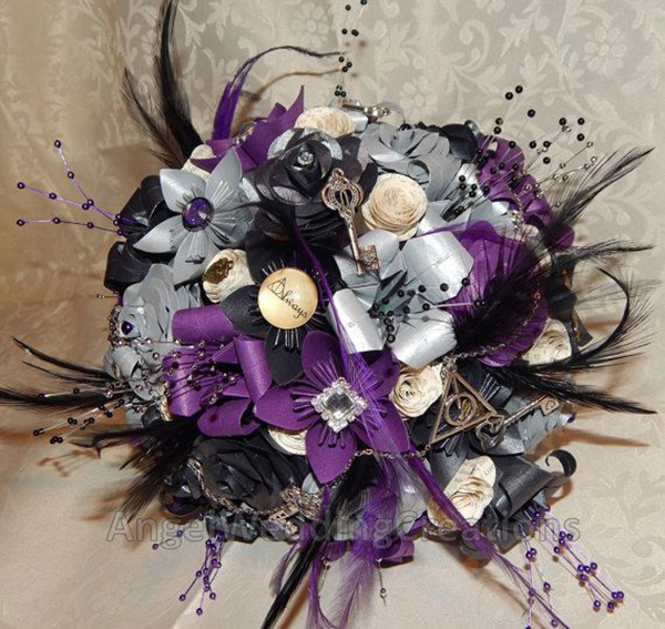 Stunning purple, cream and black wedding bouquet made from paper flowers
