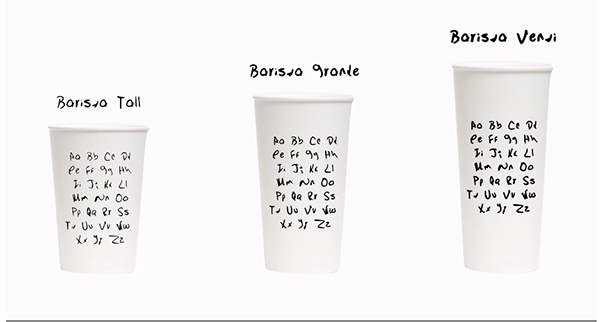 Barista font cup sizes