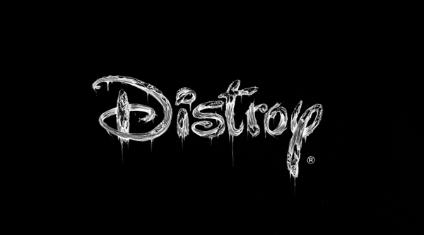 Graphic design adaptation of Disney's logo in black and white - looking battered and beaten and changed to say 'distroy'