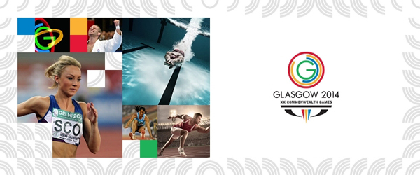 An image of 2014 Glasgow's Commonwealth Games logo and marketing banner has a white background and pixelated photos of famous athletes who are likely to be competing.