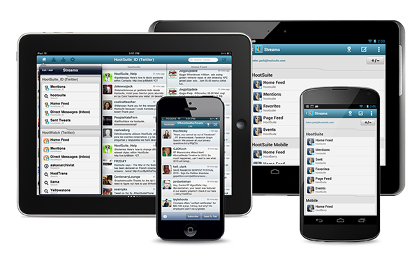 Hootsuite app for managing social networks on smartphones and tablets