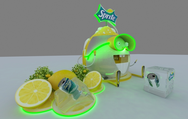 Sprite exhibition stand looks like a neon lemon