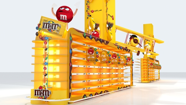 Graphic design drawing of the M&Ms sweet stand