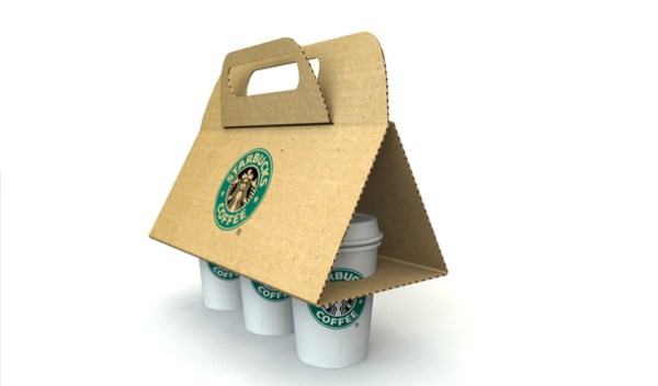 Graphic design representation of what Starbox concept will look like- the cardboard wraps up around 3 cups to form a easy-to-carry handle