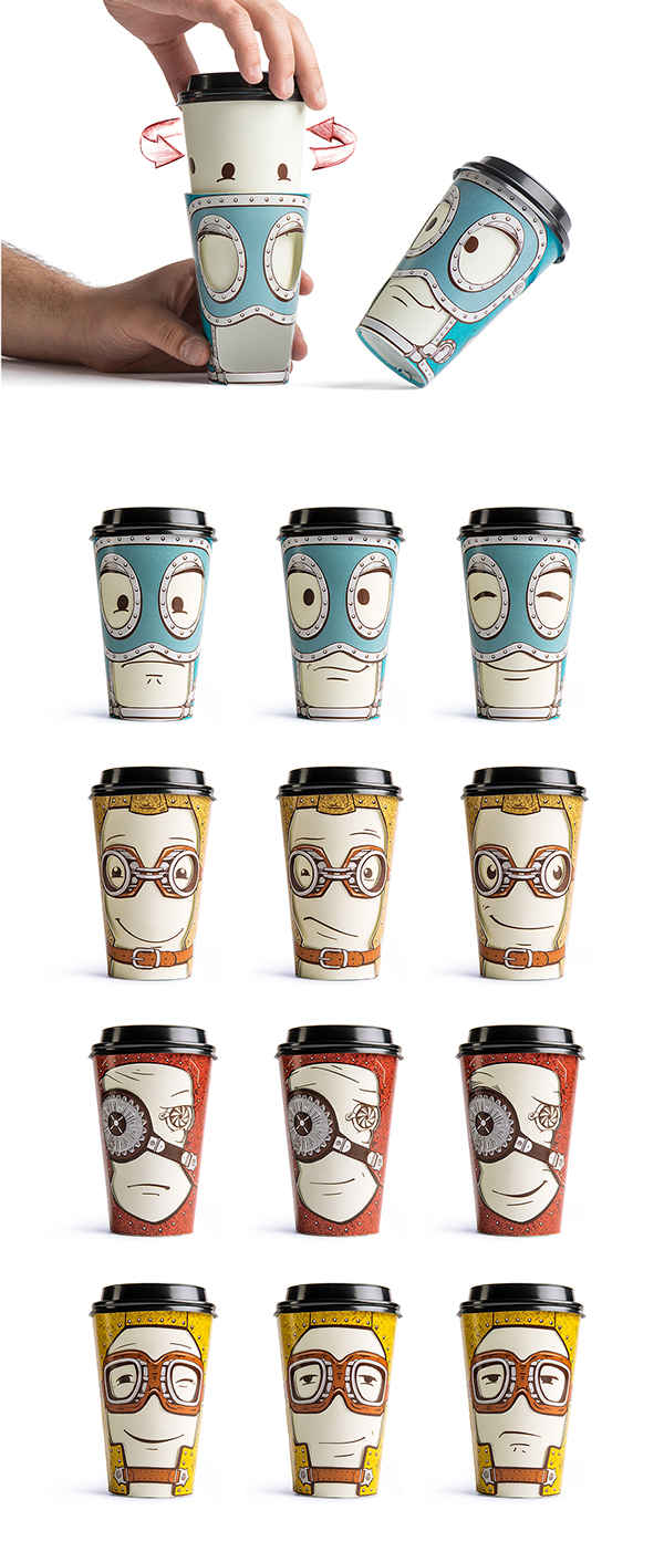 Gawatt's coffee - a demonstration of the characters and their different facial expressions on mugs