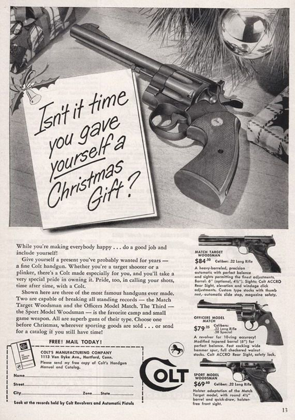 Advert for Colt shows a handgun next to a tag that reads 'isn't it time you gave yourself a Christmas gift?'