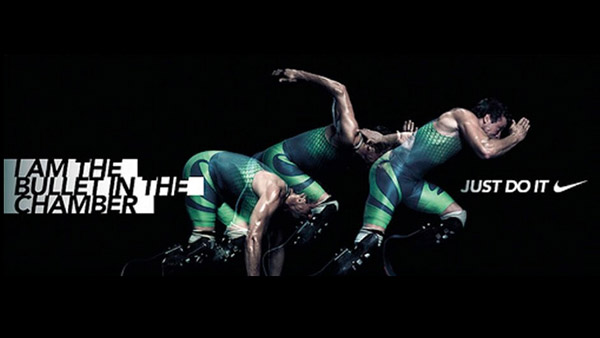 Poster pulled by Nike following Oscar Pistorius' murder trial. Nike advert read 'I am the bullet in the chamber'
