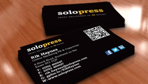 print v. digital Rik Haynes Solopress business cards.