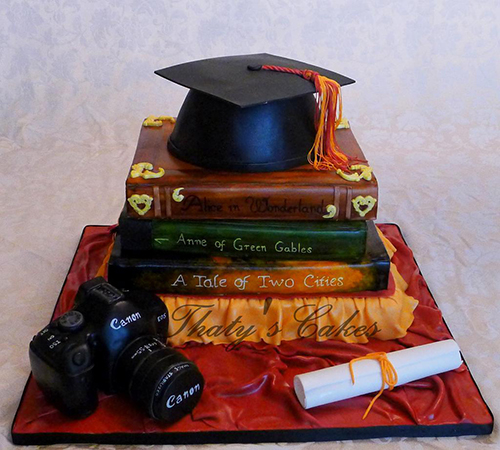 Amazing books graduation cake