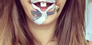 Bugs Bunny lip pop art by Laura Jenkinson