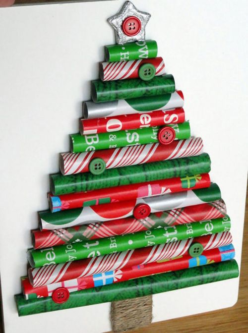 diy christmas trees made of wrapping paper