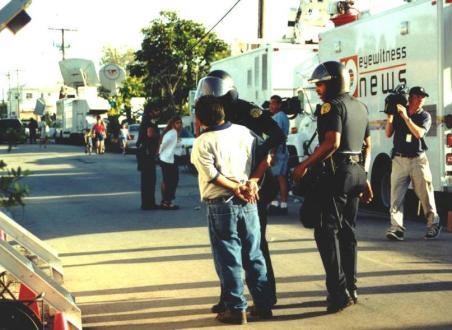 The Day Elian Gonzalez was Taken from His Miami Home, April 22, 2000 - Protesters Arrested
