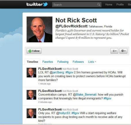 Screen Shot of Fake Rick Scott Twitter Account