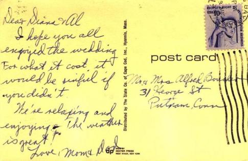 """Cape Cod Bay Postcard from 1977, """"Hope you enjoyed the wedding for what it cost."""""""