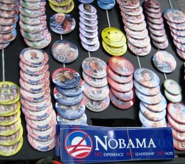 Political Buttons, Oct. 2008, Ft. Myers, Fla.