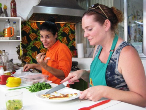 Chef Simone and My Sister Preparing an Appetizer