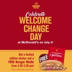 Celebrate Welcome Change Day with free Burger Mcdo