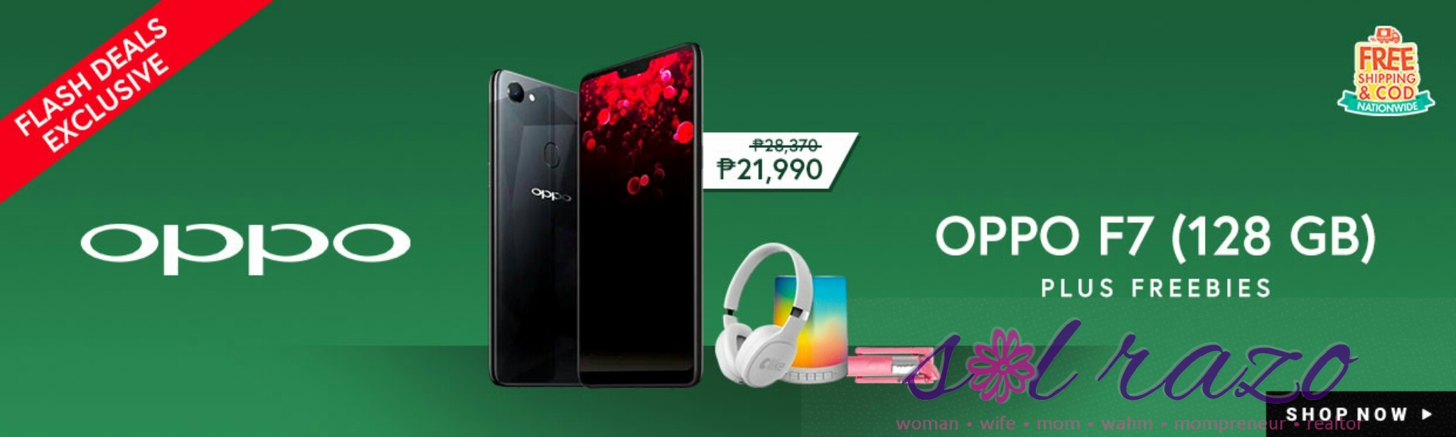 OPPO F7 128GB Diamond Black, exclusively available online on Shopee