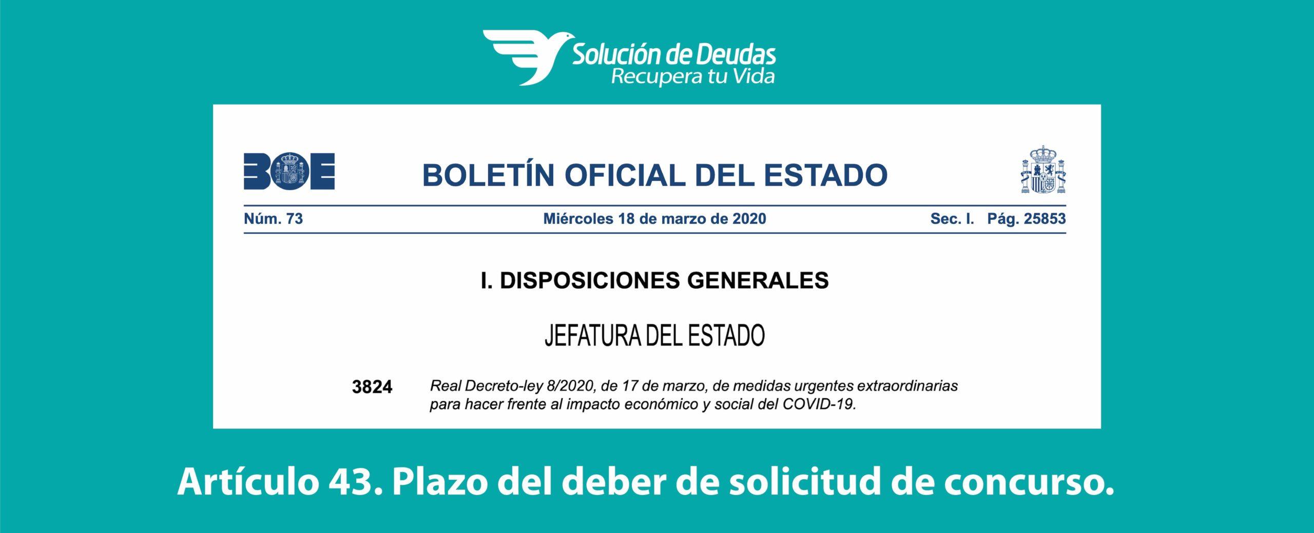 Real Decreto Ley 8/2020 para la crisis del Coronavirus.