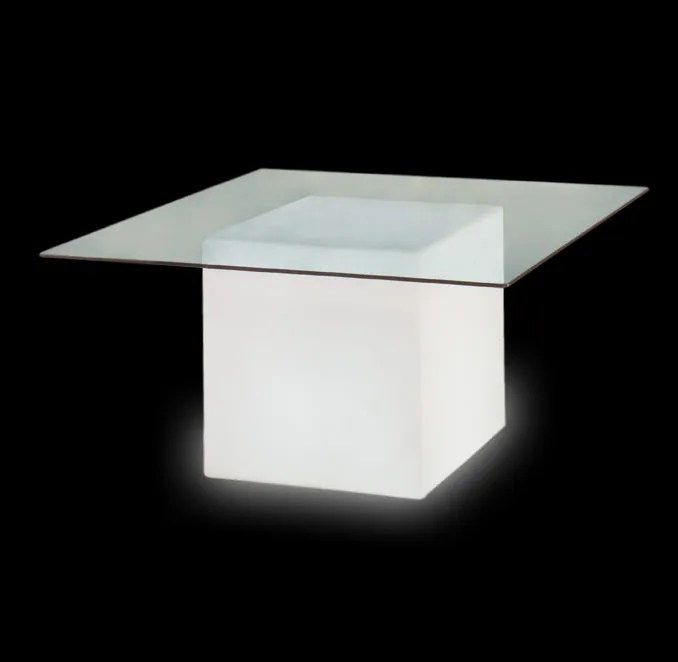 Mesa square. mesa cristal con Luz de Slide. Soluciones contract