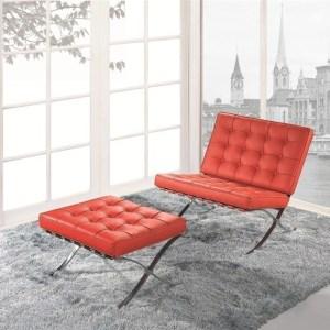 Silla BARNA con ottoman, similpiel roja
