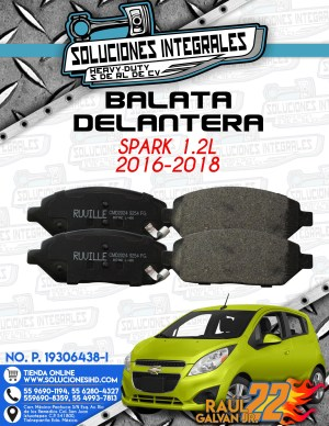 BALATA DELANTERA SPARK 1.2L 2016-2018