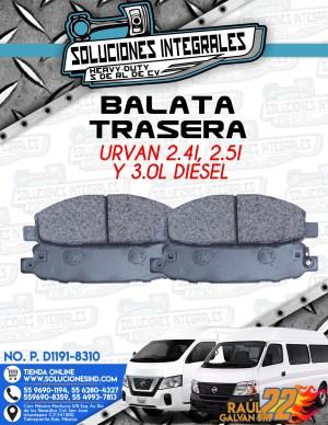 BALATA TRASERA URVAN  2.4L, 2.5L Y 3.0L DIESEL