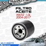 FILTRO ACEITE MATIZ 1.0L 2004-2017
