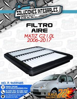FILTRO AIRE MATIZ G2 1.0L 2006-2017