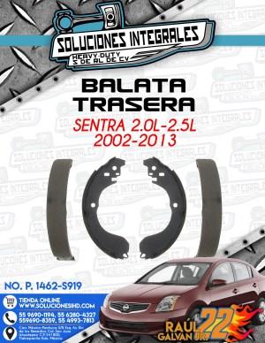 BALATA TRASERA SENTRA 2.0L-2.5L 2002-2013