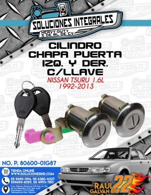 CILINDRO CHAPA PUERTA IZQ. Y DER. CON LLAVE TSURU 1.6L 1992-2013
