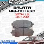 BALATA DELANTERA SENTRA 1.8L