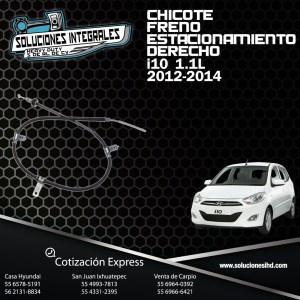 CHICOTE FRENO ESTACIONAMIENTO DERECHO I10 1.1L 12-14