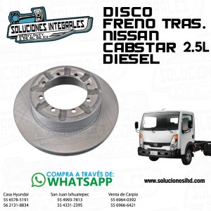 DISCO FRENO TRAS. NISSAN CABSTAR 2.5L DIESEL
